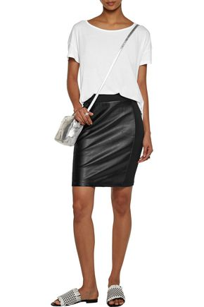 SPLENDID Paneled faux leather and stretch-jersey mini skirt