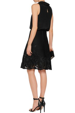 MAJE Embroidered mesh skirt