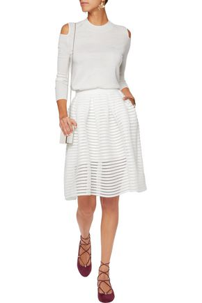 MAJE Crochet-trimmed pleated cady skirt