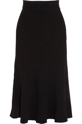 MAJE Janvry flared ribbed-knit midi skirt