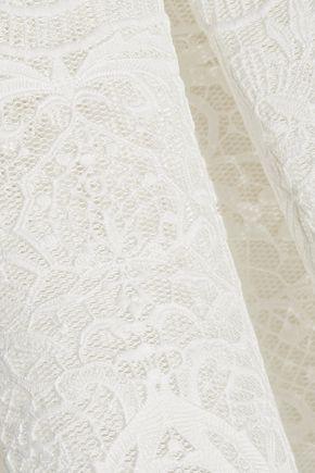 MAJE Jeko bonded guipure lace mini skirt