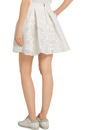MAJE Pleated guipure lace and mesh mini skirt