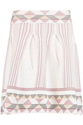 MAJE Pleated ribbed stretch-knit mini skirt