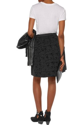 SANDRO Janice pleated embroidered mesh skirt