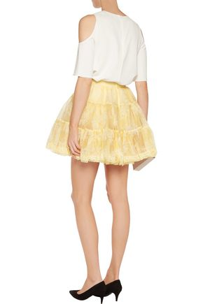 REDValentino Lace-trimmed flocked silk-organza mini skirt