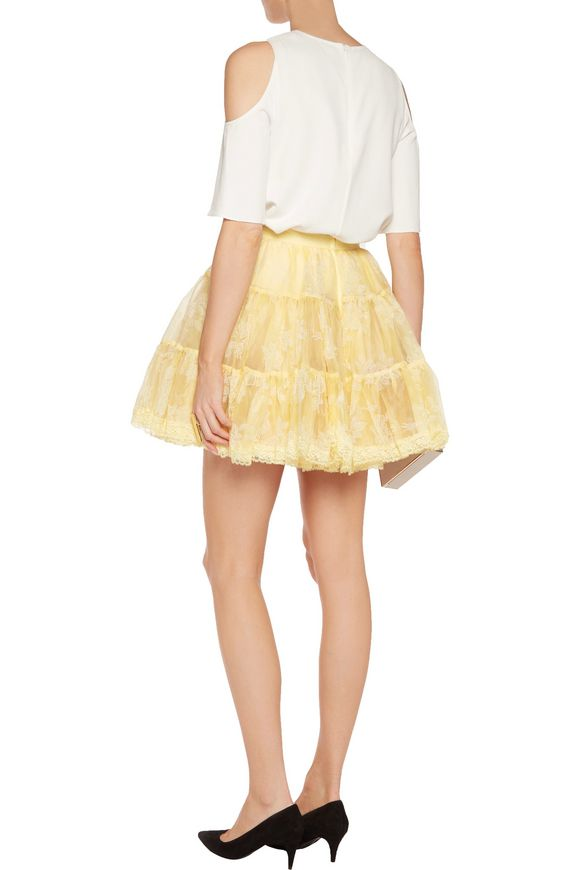 Lace-trimmed flocked silk-organza mini skirt | REDValentino | Sale up to  70% off | THE OUTNET