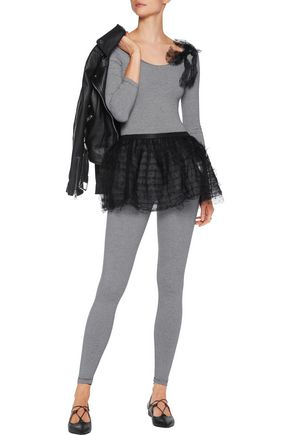 REDValentino Striped stretch-cotton jersey and Swiss-dot tulle top, leggings and tutu set