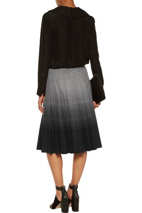 REDValentino Ombré pleated wool-blend skirt