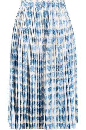REDValentino Pleated printed satin-twill skirt