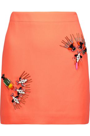 STELLA McCARTNEY Becca crystal-embellished crepe de chine mini skirt