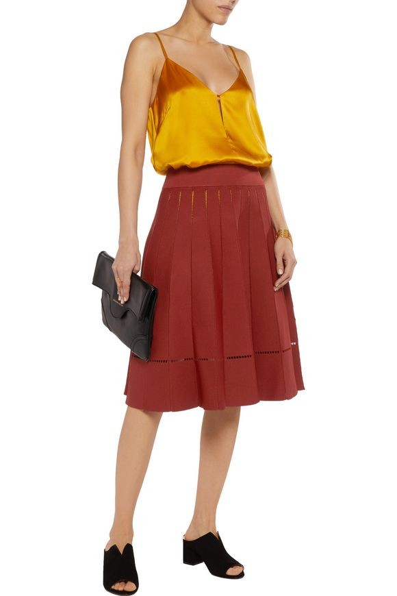 Nicole embroidered stretch-jersey skirt | A.L.C. | Sale up to 70% off | THE  OUTNET
