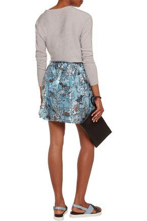 MSGM Pleated floral-print tulle mini skirt