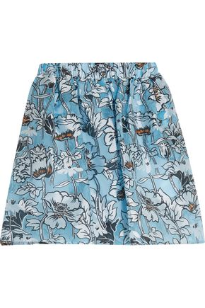 MSGM Pleated floral-print tulle mini skirt