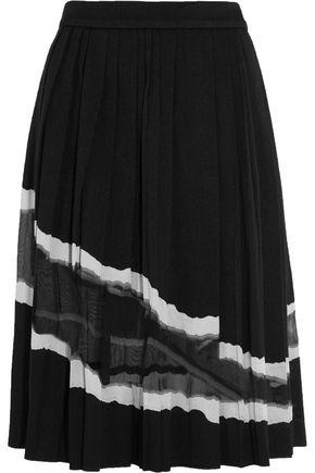 MAISON MARGIELA Pleated organza-paneled twill midi skirt