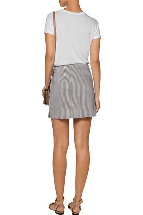 LA LIGNE Wrap-effect striped twill mini skirt
