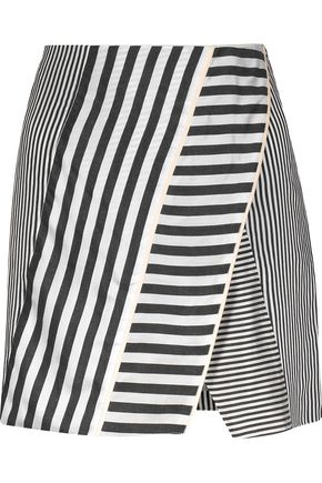 LA LIGNE Wrap-effect striped twill mini skirt