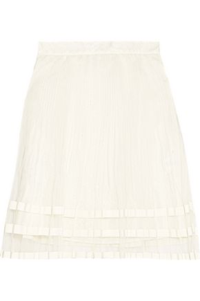 CLU Grosgrain-trimmed pleated organza mini skirt