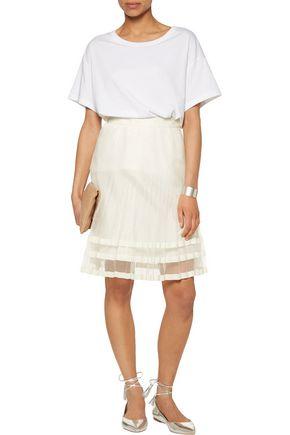 CLU Grosgrain-trimmed pleated organza mini skirt
