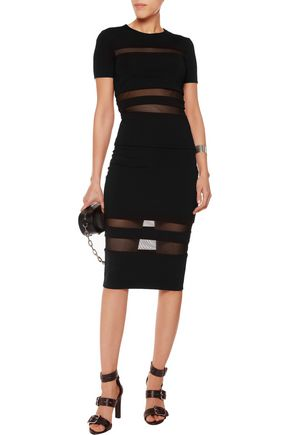 T by ALEXANDER WANG Mesh-paneled stretch-ponte skirt
