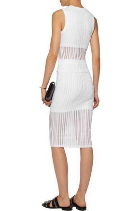 T by ALEXANDER WANG Open-knit cotton-blend skirt