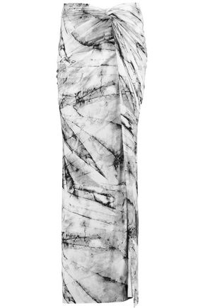 HELMUT LANG Wrap-effect printed stretch-jersey maxi skirt