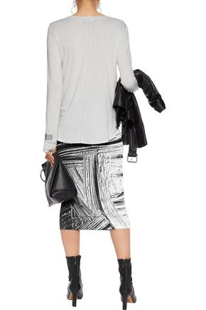 HELMUT LANG Printed stretch-jersey midi skirt