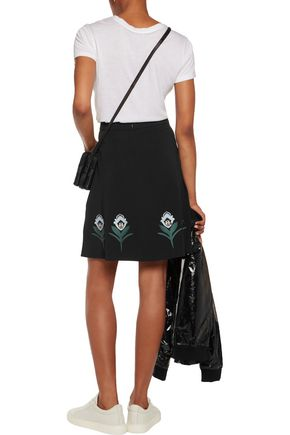 MARKUS LUPFER Embroidered crepe skirt