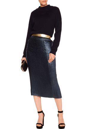 MARKUS LUPFER Brana leather-trimmed pintucked lamé skirt