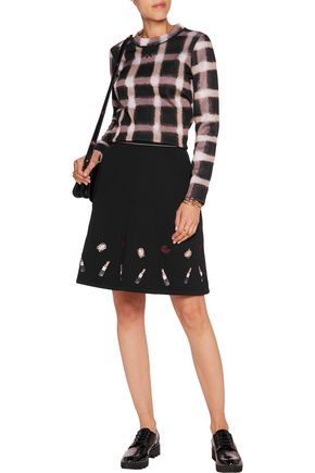 MARKUS LUPFER Embroidered neoprene-jersey mini skirt
