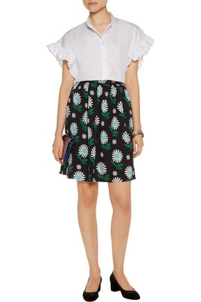 MARKUS LUPFER Ditsy Daisy floral-print crepe skirt