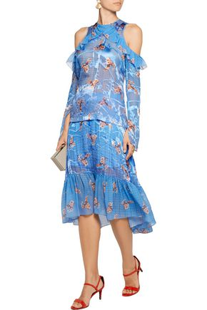 PREEN by THORNTON BREGAZZI Harris paneled printed fil coupé skirt