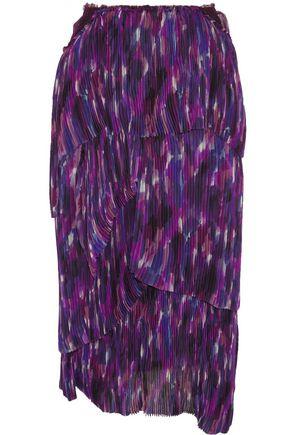 BURBERRY Tiered printed silk skirt