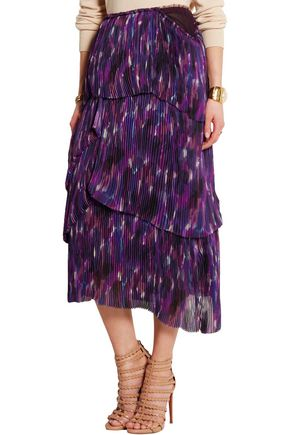 BURBERRY Tiered printed silk skirt
