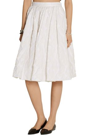 MIU MIU Pleated cotton-blend cloqué skirt