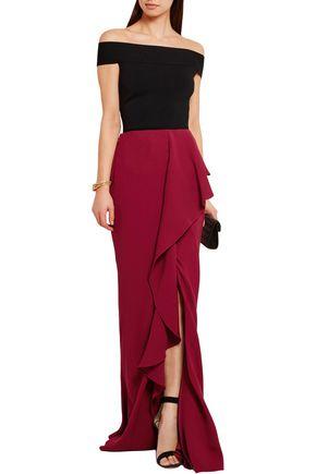 ALEXANDER MCQUEEN Ruffled silk-crepe maxi skirt
