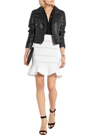 ALEXANDER MCQUEEN Lace-paneled cotton-blend mini skirt