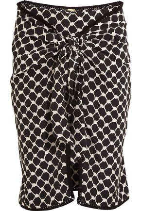 DODO BAR Or Tasseled printed silk crepe de chine wrap mini skirt