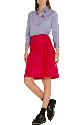 TITLE A Pleated wrap-effect stretch-cotton skirt
