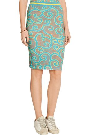 SIBLING Printed stretch cotton-blend skirt