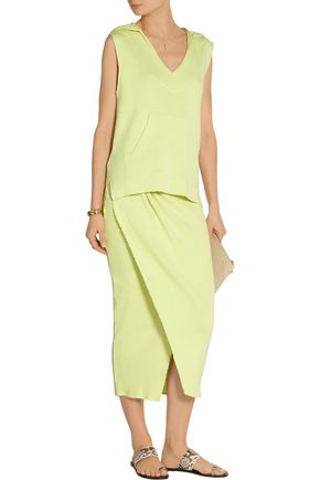 BAJA EAST Wrap-effect ribbed stretch-cotton skirt