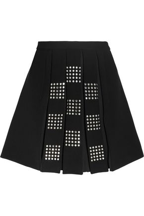 VERSUS VERSACE Embellished pleated crepe mini skirt