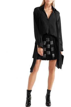 VERSUS Embellished pleated crepe mini skirt