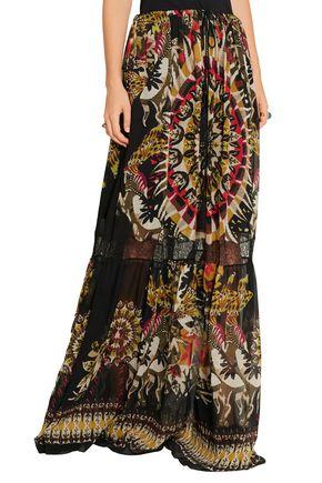 ROBERTO CAVALLI Lace-trimmed printed silk-chiffon maxi skirt
