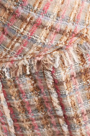MIU MIU Pleated wool-blend tweed mini skirt