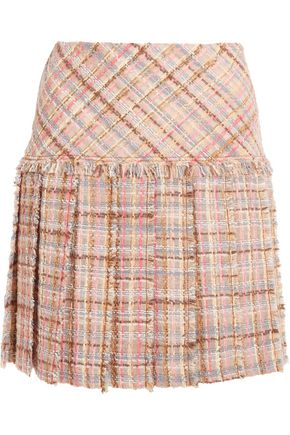 MIU MIU Pleated wool-blend tweed mini skirt