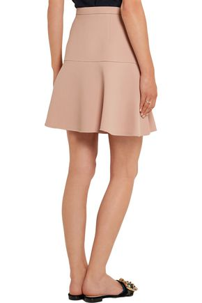 MIU MIU Fluted wool and silk-blend crepe mini skirt