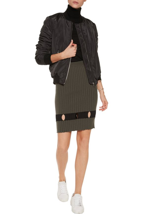 Cutout ribbed wool skirt | ALEXANDER WANG | Sale up to 70% off | THE OUTNET