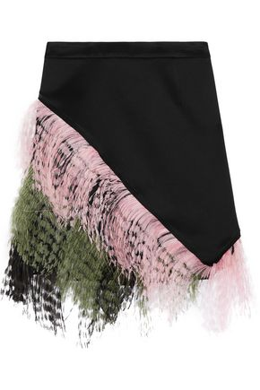 CHRISTOPHER KANE Feather-trimmed crepe de chine mini skirt