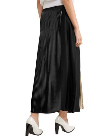 STELLA McCARTNEY Carmen metallic-paneled pleated crepe maxi skirt