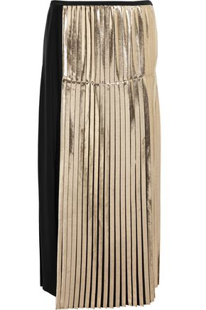 STELLA McCARTNEY Carmen metallic-paneled pleated crepe midi skirt